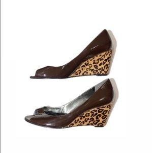 Marc Fisher Prep Toe Leopard Print Wedges